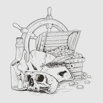 Охотник за сокровищами пираты череп иллюстрация иллюстрационная линия