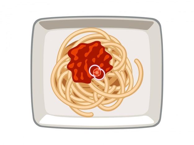 白い背景の上の皿にベクトルスパゲッティトマトソース