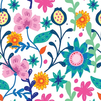かわいい花柄手描きのシームレスパターン