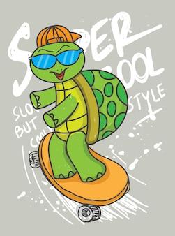 Нарисованная вручную черепаха с скейтбордом для футболки