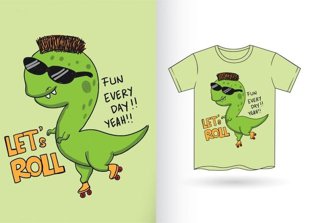 Нарисованный от руки мультфильм динозавра для футболки