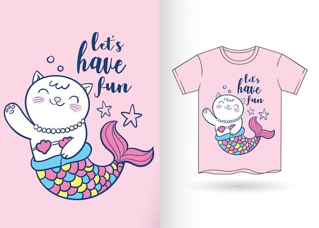 Милый мультфильм кошка русалка для футболки