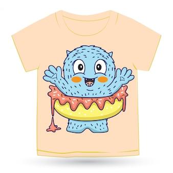 Милый монстр пончик мультфильм для футболки