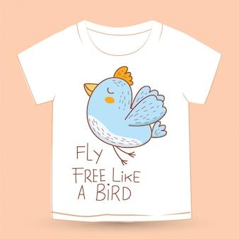 Симпатичная птица рисованной для футболки
