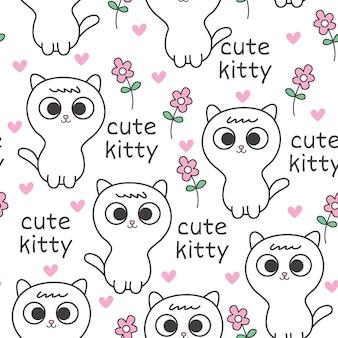 かわいい赤ちゃん猫のシームレスパターン