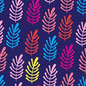 カラフルなヤシの葉と熱帯のシームレスパターン