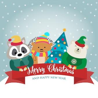 動物と願いのあるクリスマスカードコレクション