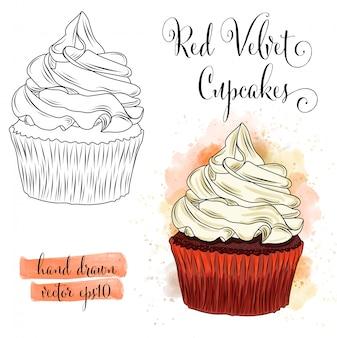 美しい手描きの水彩赤いベルベットカップケーキ