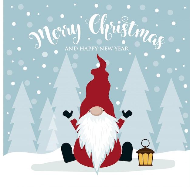 かわいいグノーとクリスマスカード