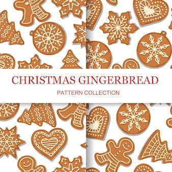 クリスマスジンジャーブレッドのパターンセット