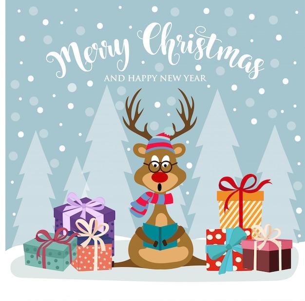 かわいいトナカイとギフトボックスが付いたクリスマスカード