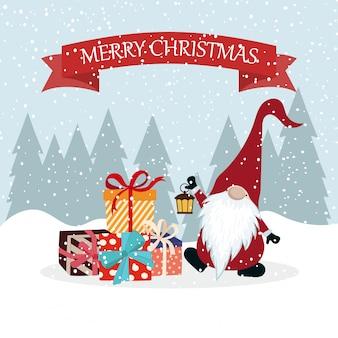 グノームとギフトボックスを備えたクリスマスカード