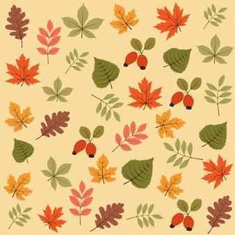 Осенний бесшовные модели с листьями