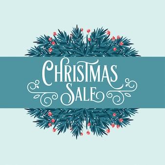 木の枝と挨拶のレトロなクリスマスカード