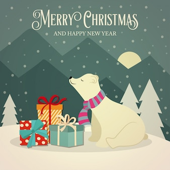 ポーランドのクマとプレゼントのレトロクリスマスカード