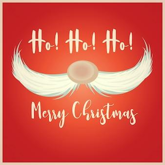 Рождественская открытка с усами санта