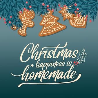モミの枝とジンジャーブレッドの美しいクリスマスカード