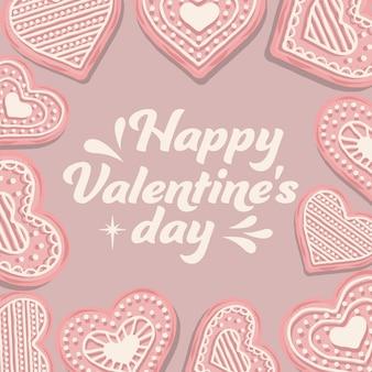 ピンクのクッキーとバレンタインカード