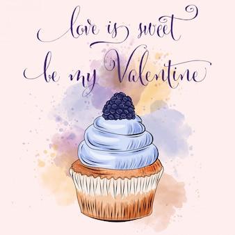 カップケーキとバレンタインの日カード