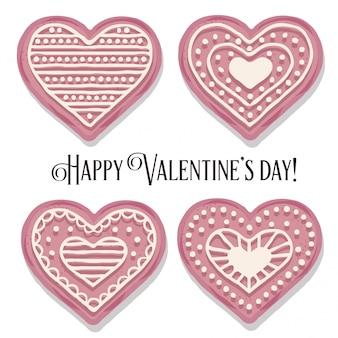 バレンタインデーのためのピンクのハートクッキーコレクション
