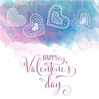 水彩のバレンタインカード