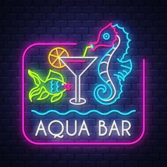 Аква-бар неоновая надпись