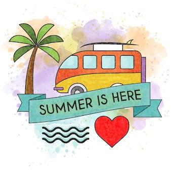 Лето здесь. акварель летний постер