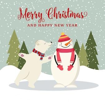 かわいいフラットデザインクリスマスカード、雪だるまと北極熊