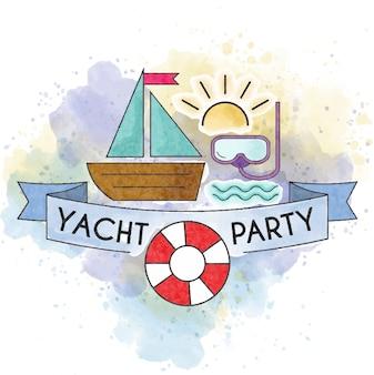 ヨットパーティー水彩夏のポスター