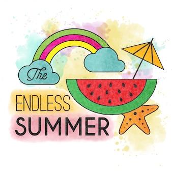 終わりのない夏。水彩夏のポスター