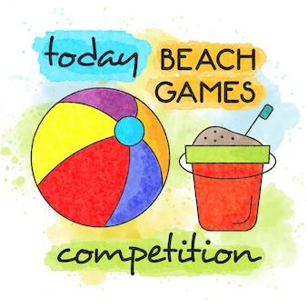 ビーチゲーム大会。水彩夏のポスター