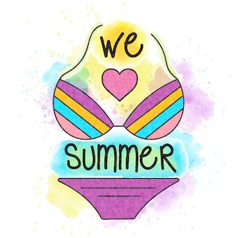 夏が大好きです。水彩ポスター