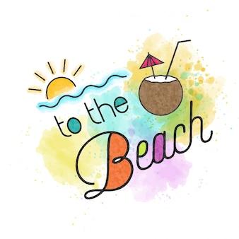 На пляж. акварель летняя надпись