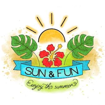 Наслаждайся летом. акварель баннер с тропическими листьями и цветами