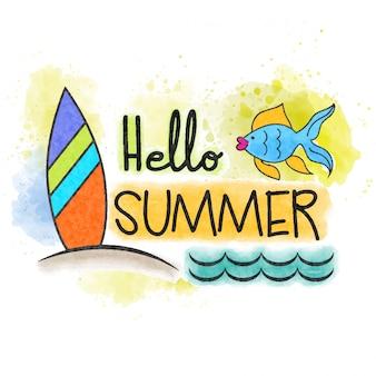 こんにちは夏。海洋の水彩画のバナー