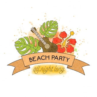 ビーチパーティー。水彩夏バナー