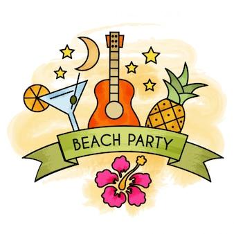 水彩夏のビーチパーティーのバナー。