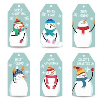 雪だるまを持つクリスマスラベルコレクション