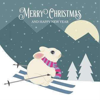 С рождеством и новым годом открытка с кроликом лыжником. плоский дизайн.