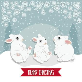 Рождественская открытка с кроликами.