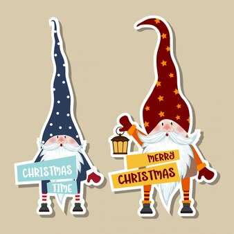 Рождественская коллекция наклеек с милыми гномами и пожеланиями.