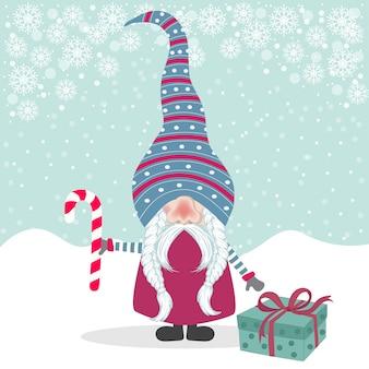 Красивый рождественский плоский дизайн с гномом.