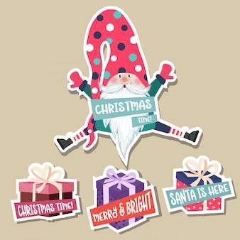 Рождественская коллекция наклеек с милыми гномами. плоский дизайн