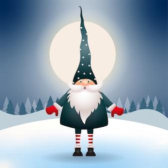 Милый гном в рождественскую ночь. рождественская сцена. вектор