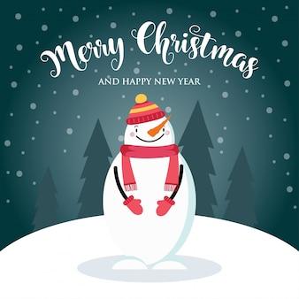 かわいい雪だるまと願いのクリスマスカード