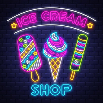 アイスクリームショップ-ネオンサインベクトル。アイスクリームショップ-レンガ壁の背景にネオンサイン