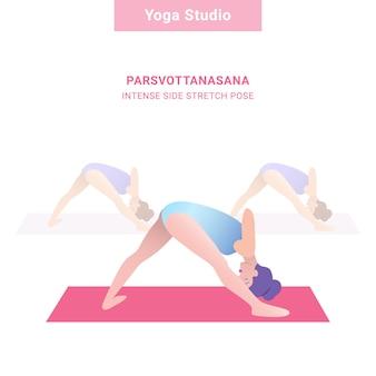 Парсвоттанасана, напряженная боковая поза растяжения. студия йоги