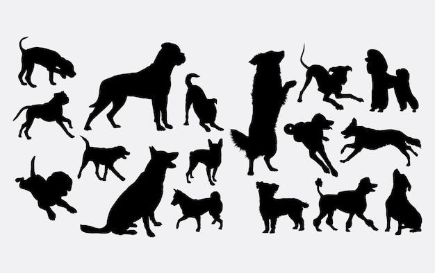 犬のアクションのシルエット