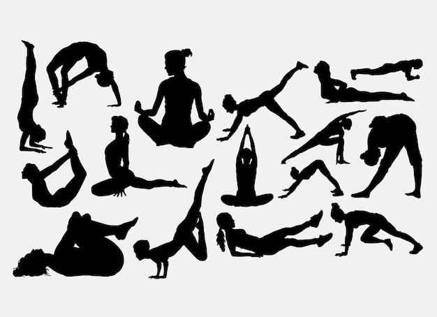 ヨガとフィットネススポーツのシルエット