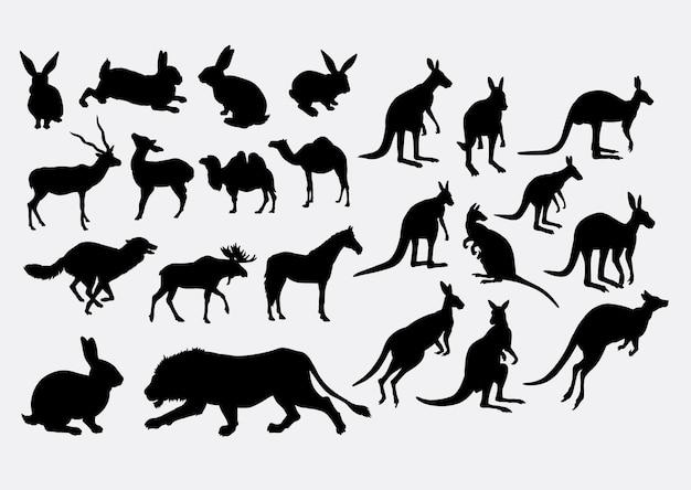 野生動物ウサギ、カンガルー、馬、ライオン、鹿、シルエット